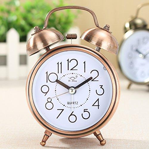 KING DO WAY Klassik Wecker Doppelglockenwecker Clock , Retro Quarzwecker Tischuhr mit Nacht Licht, Kein Ticken Geräuschlos (Kupfer)