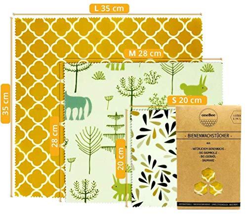 oneBee Bio Bienenwachstücher | 3 Stück Größe S/M/L | Wachstücher aus Bio Bienenwachs, Bio Baumwolle, Bio Jojobaöl und Baumharz | Wiederverwendbares Wachspapier | Wachstuch für Lebensmittel |