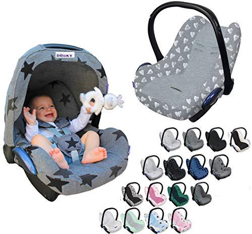 Original DOOKY BabyFit ** UNIVERSAL Schonbezug für 3 und 5 Punkt Gurt System ** Babyschale, Autositz wie z.B. für Maxi-Cosi, Cybex etc. (Grey Stars)