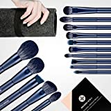 Makeup Brush Set, EIGSHOW Professional Makeup Brushes Kit Foundation Powder Concealers Eye Shadows Makeup 15 Piece for Eye Face Liquid Cream Cosmetics Brushes Kit (BLUE)
