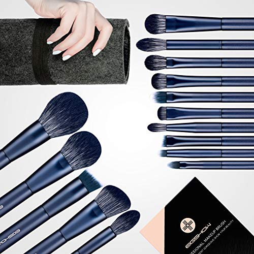 Make-up-Pinsel, 15 Teile essenzielle Profi Kosmetikpinsel im Set, Schminkpinsel, vegan make up pinsel, 7 Stk Lidschattenpinsel, Puder, Rouge, Foundation, Highlighter Pinsel usw. (Blau)