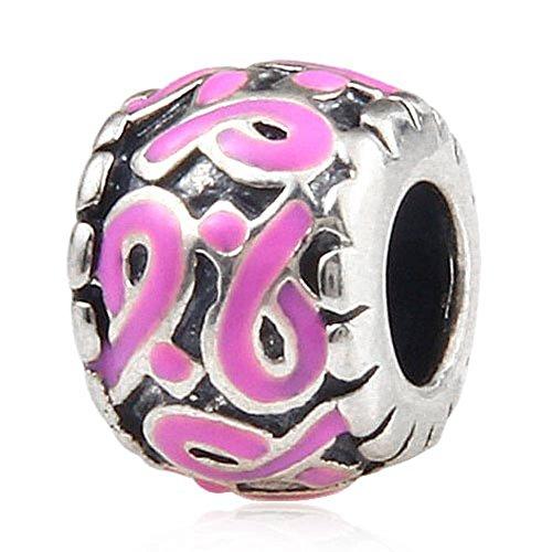 Armband parel voor borstkreef-campagne in de vorm van de roze strik van 925 sterling zilver voor Europese bedelarmbanden