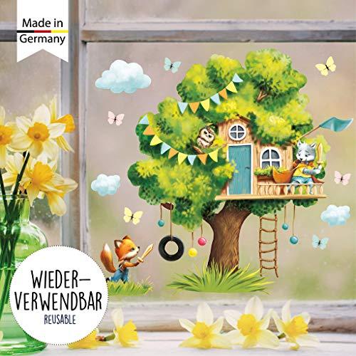 Wandtattoo Loft Fensterbild Frühling Baum mit Tieren wiederverwendbar Fensteraufkleber Kinderzimmer / 1. Baumhaus Tierfreunde (13042) / 1. DIN A4 Bogen