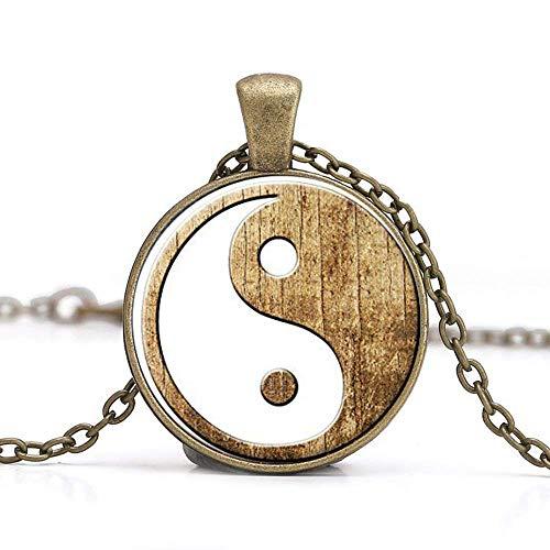 Handgefertigt Bild Anhänger Yin Yang Halskette, Yin und Yang, Yoga, spirituelle Schmuck