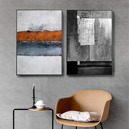 NFXOC GicleeNegro Gris Cartel Abstracto Arte de la Pared impresión Moderna Lienzo Pintura Cuadros de Pared para Sala de Estar decoración del hogar (70x90cm 2pcs sin Marco