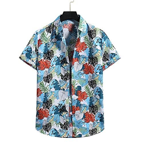 Shirt Hombre Verano Suelta Hombre Hawaiana Camisa Único Estampado Manga Corta Deportiva Camisa Botón Placket...