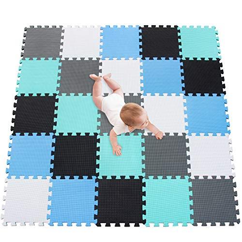 meiqicool de Puzzle para niños schaumstoffmatte de Espuma EVA Foam–Puzzle spielmatte spielteppich de puzzleteppich Baby Espuma para Kid Triángulo de Puzzle tamaño 25 PCS 0104070812