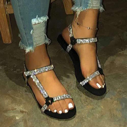 FYSY Sandalias de ducha antideslizantes para casa, sandalias de tacón de cuña y zapatillas con diamantes de imitación, zapatos de playa-negro_35, chanclas de gran aspecto fangkai77
