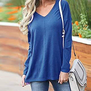 QGT Clothing Casual Loose V-Neck Solid Color Long-Sleeved T-Shirt, Size: XXXL(White) (Color : Royal Blue, Size : L)