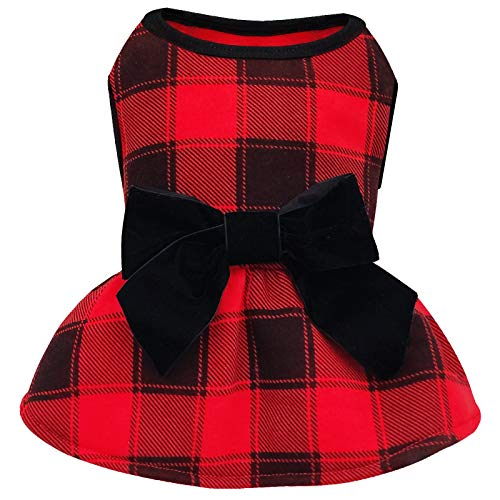 kyeese Dog Dress Red Buffalo Check Dog Dresses with Bowtie Small Dog Dress for Fall Winter