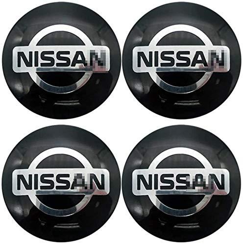 MISSLYY 4 Piezas Coche Tapas Centrales de Llantas para Nissan,con el Logotipo De Insignia Rueda Tapas De Centro Prueba De Polvo Accesorios De Decorativo De Automóvil,56mm