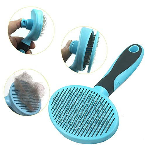 Hesiry Cat Brush Dog Brush for Shedding Removes Loose Undercoat,Slicker Brush for Dog Massage-Self Cleaning Blue