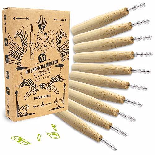 Nature Nerds – Interdentalbürsten im Set (10er Pack), 0,4 mm, ISO 0, aus nachhaltig angebauten Bambus / 10 Zahnzwischenraum-Bürsten