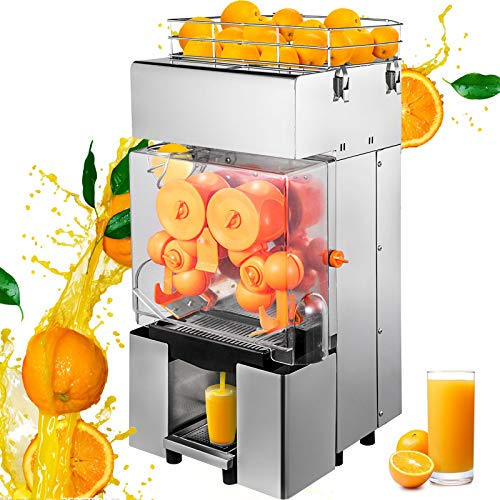 VBENLEM Commercial Juicer Machine, 110V Automatic Feeding Juice Extractor, 120W Orange Squeezer for 20-30 per Minute, with Pull-Out Filter Box SUS 304 Tank PP Cover and Two Peel Collecting Buckets