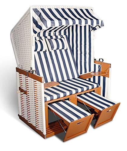 Hansen 10/551/1/1 Nordseestrandkorb aufgebaut, Holz mittelbraun, Kunststoffgeflecht in weiß, Bezug: blau-weiß gestreift B 125 T 86 H 154 cm