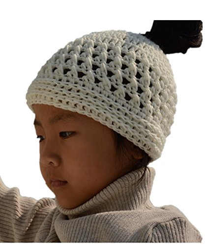 tinacrochetstudio Crochet Messy Bun Hats Ponytail Beanie Homemade Chirstmas Gifts (Child, Brown)