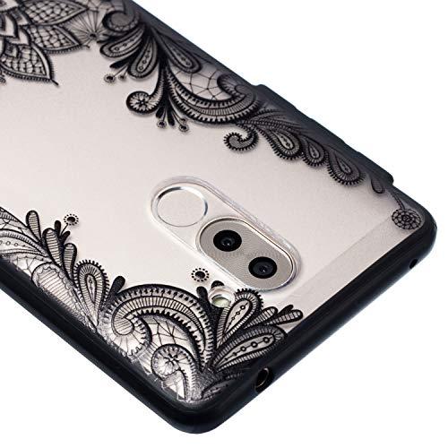 Grandoin Huawei Honor 6X Hülle, 2 in 1 Ultra Dünne Schale Ultra Dünn Weich TPU Bumper Case Silikon Schutzhülle Handy Tasche für Huawei Honor 6X (Schwarzer Lotus) - 4