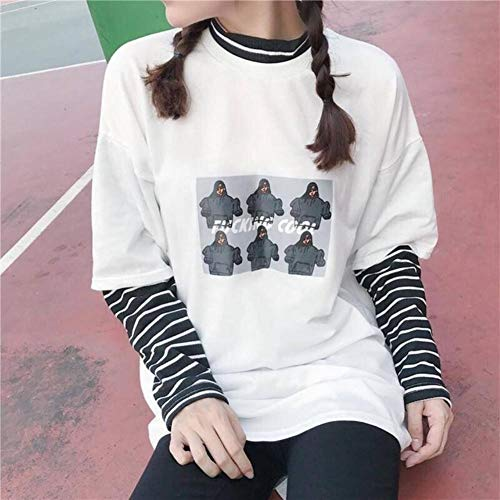 WANGSHI Hooded Sweater Casual Mode Streep Coltrui Hoodie Lange Mouw Truien Losse Harajuku Gestreepte Sweatshirt