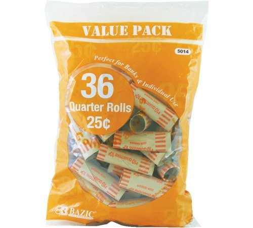 Bazic Quarter Coin Wrappers, 36 Per Pack – 3 Packs (Total 108) PackageQuantity: 3 Style: Yellow, Model:, Office…