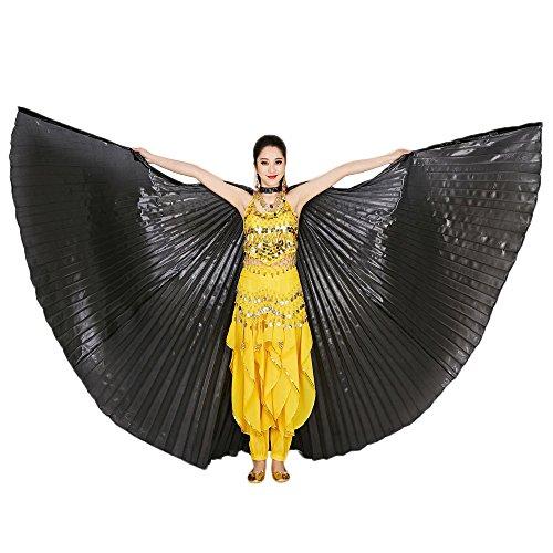 TONSEE Tanz Schal, Ägypten Bauch Flügel Tanzen Kostüm Polyester Bauchtanz Zubehör No Sticks (Schwarz)