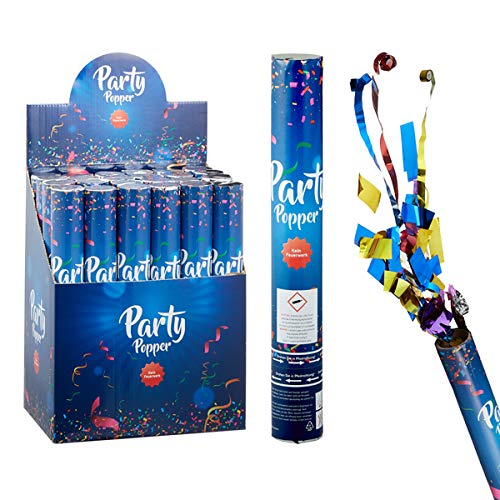 wuselwelt 1 Stück Party Popper De Luxe, 30 cm, befüllt mit Folien-Luftschlangen und Konfetti, Konfetti Bombe, Partyknaller, Kostüm, Konfettibombe, Konfettishooter, Partypopper, Konfettikanone
