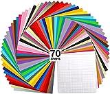 "70 Láminas de vinilo Ohuhu, con respaldo adhesivo permanente, 60 láminas de vinilo 12"" x 12"" 10 láminas, 30 colores surtidos para máquinas de corte, siluetas."