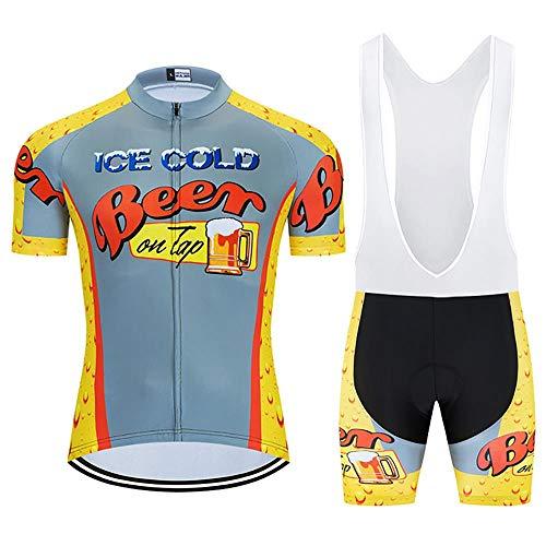 Los hombres de Ciclismo Trajes con 20D Gel Acolchado Babero Pantalones Cortos MTB Ropa Ciclismo Conjunto Conjunto de Ropa de Verano Conjunto para Hombres Cerveza Ciclismo Jerse, verano, Hombre, color gris, tamaño xxx-large