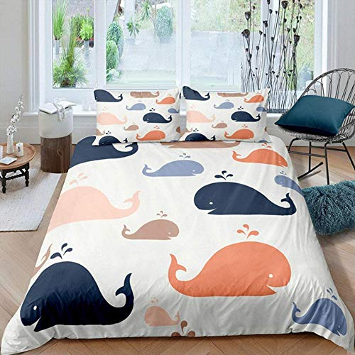 Damqskd 3D Sports Duvet Cover Set Colorful Sea Creature Whale - Double (200 X 200 Cm) - Suitable For Teenager Boys And Girls, Soft Microfiber Quilt Cover Bedding Set With Zipper Closure