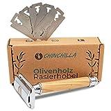 Chinchilla® Rasierhobel aus Holz & Metall| Zero Waste Rasierer für Damen & Herren | Inkl. 5 Rasierklingen | Nassrasierer | plastikfrei, umweltfreundlich & nachhaltig rasieren -