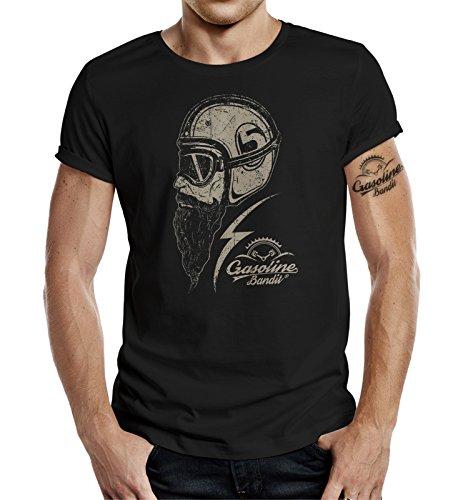 Gasoline Bandit Biker - Camiseta de manga corta, diseño original, color negro Negro M