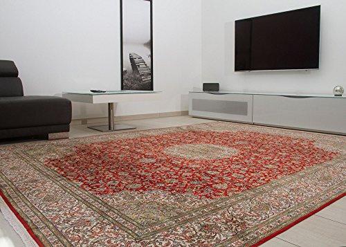 18/18 Orientteppich Kaschmir Seide Teppich Medaillon in Rot, Größe: 247x308 cm Wohnzimmer