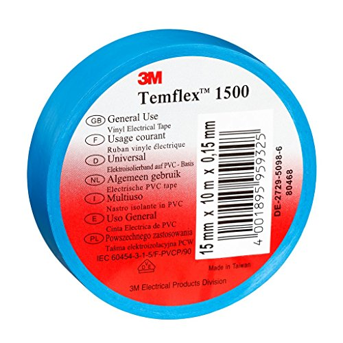 3M TBLA1525 Temflex 1500 Vinyl Elektro-Isolierband, 15 mm x 25 m, 0,15 mm, Blau