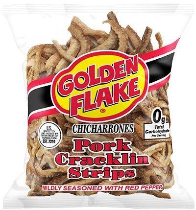 Golden Flake Pork Cracklins W/Red Pepper Seasoning 3.25 oz (Pack 4)