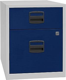 Bisley Caisson mobile hauteur bureau PFA, 1 tiroir, 1 tiroir pour DS, gris clair / bleu oxford | PFAM1S1F505 - Armoire bas...
