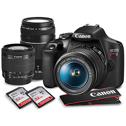 Canon T7 EOS Rebel DSLR Camera with 18-55mm and 75-300mm Lenses Kit & 32GB Dual SD Card Accessory Bundle