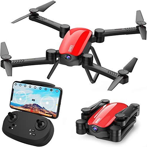 SIMREX X900 Drone Optical Flow Positioning RC Quadcopter with 1080P HD Camera, Altitude Hold Headless Mode, Foldable FPV Drones WiFi Live Video 3D Flips 6axis RTF Easy Fly Steady for Learning Red