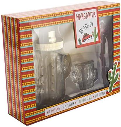 Margarita Set Includes Cactus Cocktail Glass Shaker Cactus Shot Glass Stick Stirrer Set of 3 product image