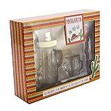 Margarita Set, Includes Cactus Cocktail Glass Shaker, Cactus Shot Glass, Stick Stirrer, Set of 3
