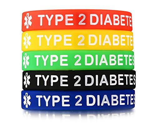 PJ JEWELRY 5 Silikonkautschuk TYP 2 Diabetes Medical Alert ID Armband Notfall Armbänder,5 Farben