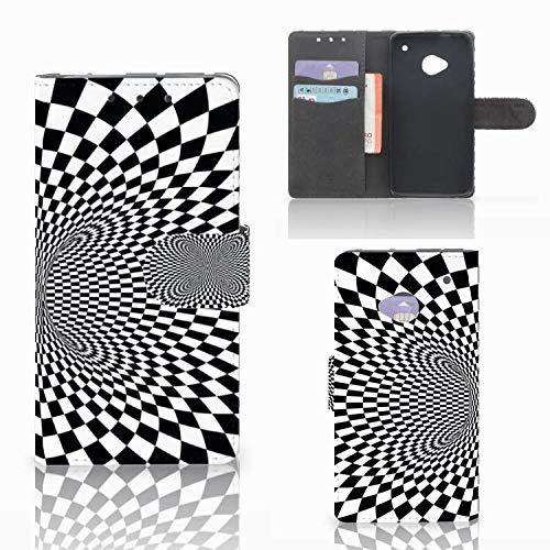 B2Ctelecom Hochwertige Handyhülle für das HTC One M7 - Magnetische Kunstleder Klapphülle zum selbst gestalten Illusion