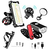 6 Pack Bike Accessories, Bike Lights Front and Back(USB Cable Included), 360° Rotation Bike Phone Mount, 1 Bike Mirror for Handlebars, 1 Pack Bike Water Bottle Holder and 1 Bicycle Bell