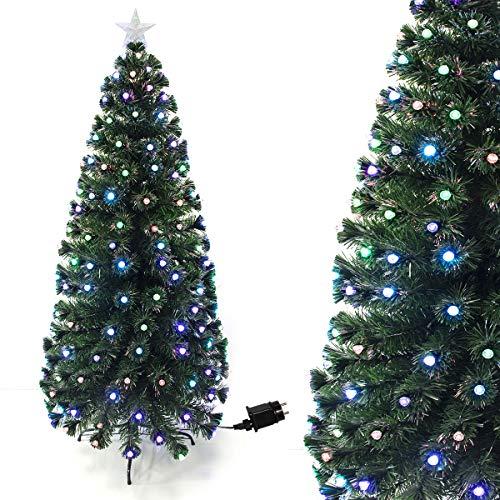 Arcoiris Albero di Natale in Fibra Ottica con LED Albero di Natale in Fibra Artificiale, Verde, Bianco, 60cm - 180cm (60 CM, Fibra di Diamante)