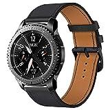 iBazal 22mm Cinturino Pelle Bandas Cuoio Bands Compatibile con Samsung Gear S3 Frontier Classic SM-R760,Galaxy Watch 46mm SM-R800,Huawei GT/2 Classic/Honor Magic,TicWatch PRO Uomo Orologio - Ne