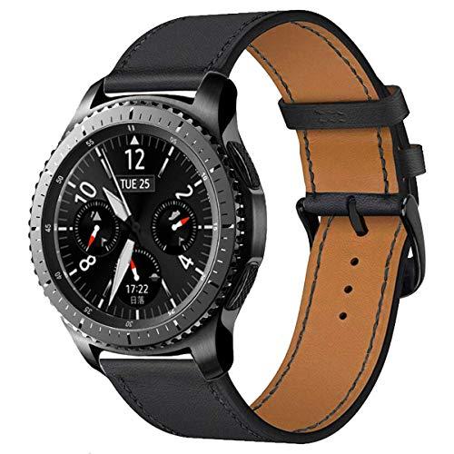 iBazal 22mm Bracelet Cuir Dégagement Rapide Bandes Compatible avec Samsung Galaxy Watch 3 45mm/Gear S3 Frontier Classic,Galaxy Watch 46mm Remplacement pour Huawei GT/2 Classic,TicWatch Pro - Noir