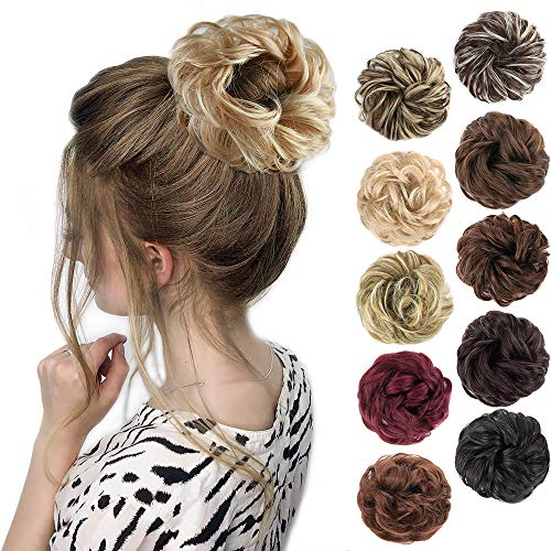 MORICA 1PCS Messy Hair Bun Hair Scrunchies Extension Curly Wavy Messy Synthetic Chignon for women Updo Hairpiece.