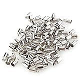 Ecloud Shop® 100 X Fornituras Terminales Tapanudos 8x4mm Tono Plata