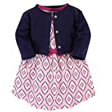 Touched by Nature Girl Organic Cotton Cardigan and Dress, Trellis 2 Piece Set, 3-6 Months (6M)