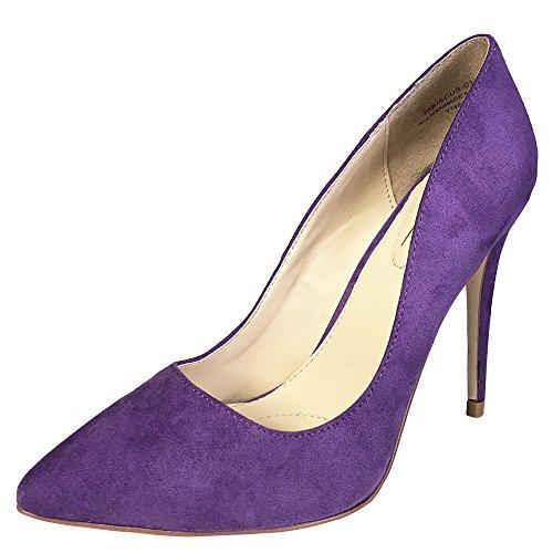 Anne Michelle Women's Plain Pointy-Toe Dress Heel Pump, Purple Faux Suede, 7.5 B (M) US