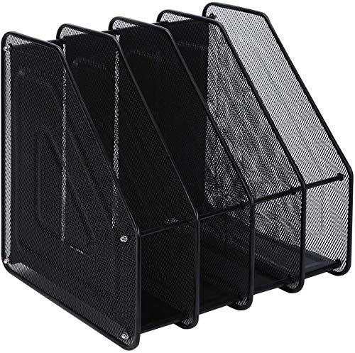 Compartimentos Revistero archivador de Malla metálica Revistero archivador 4 compartimentos Archivadores de revistas/Estante para escritorio (4Archivos, Negro) ✅