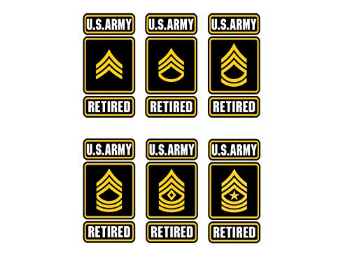 Sticker U.S Army Enlisted Ranks Decal United States Military for Car Truck Window Laptop Bumper SGT/SSG/SFC/MSG/1SG/SGM 2.5 w x 5.0 h in (1st Sergeant E-8)